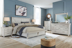 Brashland Linen Queen Bed w/ Dresser Mirror & Nightstand