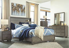 Arnett Gray King Bed w/ Dresser Mirror & Nightstand