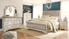 Realyn Two-tone Queen Sleigh Bed w/ Dresser Mirror & Nightstand