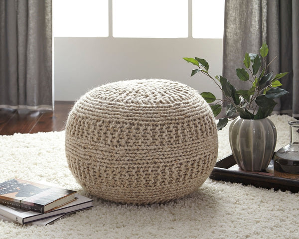 Benedict Natural Pouf - Ashley shop at  Regency Furniture