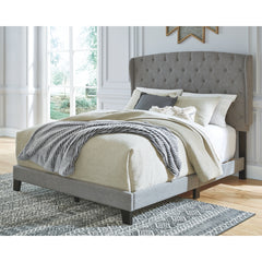Vintasso Queen Button Tufted Padded Panel Bed  (Gray)