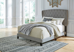 Vintasso King Upholstered Button Tufted Headboard, Footboard, Roll Slats -Gray