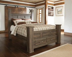 Juararo Brown Queen Poster Bed with Storage