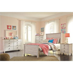 Willowton Whitewash Full Bed w/ Dresser Mirror & Nightstand