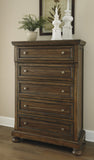 Flynnter Medium Brown Five Drawer Chest - Ashley shop at  Regency Furniture