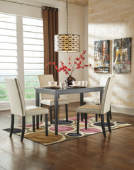 Kimonte Rectangular Dining Room Table with Ivory Chairs