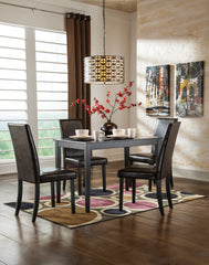 Kimonte Rectangular Dining Room Table with Brown Chairs