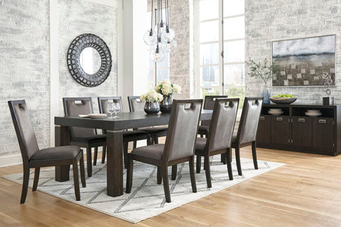 Hyndell Table & 4 Side Chairs & Server