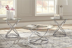 Hollynyx Chrome and Glass Occasional Table Set - Ashley shop at  Regency Furniture
