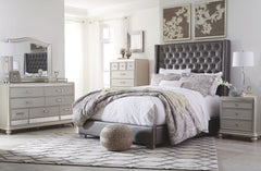 Coralayne King Tufted Uph Bed w/ Dresser Mirror & Nightstand
