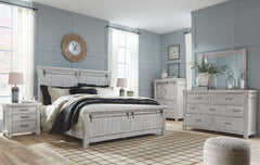 Brashland Linen King Bed w/ Dresser Mirror & Nightstand