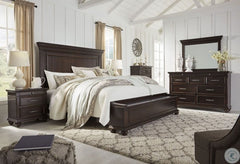 Brynhurst Dark Brown King Panel Storage Bed w/ Dresser & Mirror