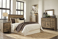 Trinell Brown Queen Bed w/ Dresser Mirror & Nightstand