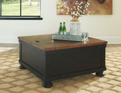 Valebeck - Black/Brown - Square Lift Top Cocktail Table