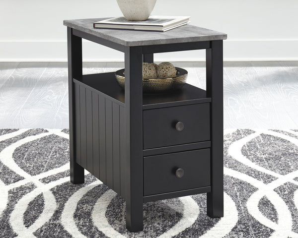 Ezmonei - Black/Gray - Chair Side End Table