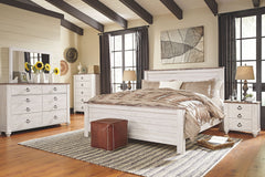 Willowton Whitewash King Bed w/ Dresser & Mirror