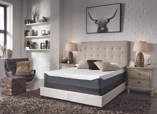 10 Inch Chime Elite White/Blue Twin Mattress & Foundation