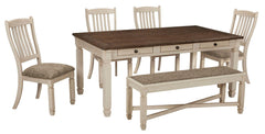 Bolanburg Twotone Table 4 Side Chairs& Bench