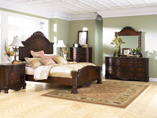 North Shore King Bed w/ Dresser & Mirror