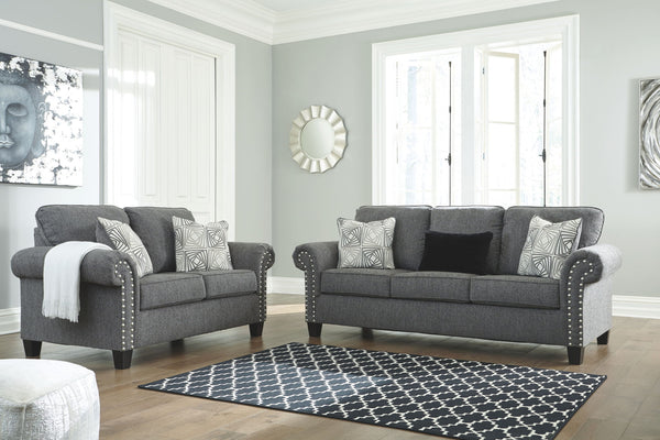Agleno Charcoal Sofa & Loveseat