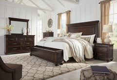 Brynhurst Dark Brown Queen Panel Storage Bed w/ Dresser & Mirror