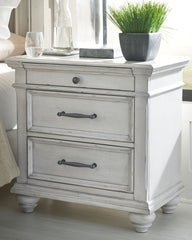 Kanwyn - Whitewash - Three Drawer Night Stand