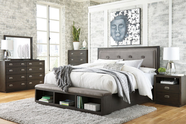 Hyndell Dark Brown Queen Bed w/ Dresser Mirror & Nightstand