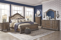 Charmond Brown Dresser, Mirror & King Sleigh Bed and Nightstand