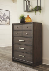 Brueban - Gray - Five Drawer Chest