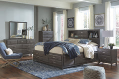 Caitbrook Gray King Bed w/ Dresser Mirror & Nightstand