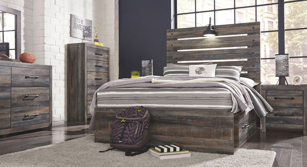 Drystan Multi Full Bed with Storage Footboard w/ Dresser & Mirror