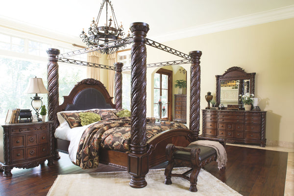 North Shore King Bed w/ Dresser & Mirror, Chest, nightstand