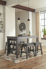Caitbrook Dark Gray Table & 4 Backless Barstools