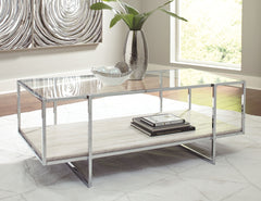 Bodalli - Ivory/Chrome - Rectangular Cocktail Table
