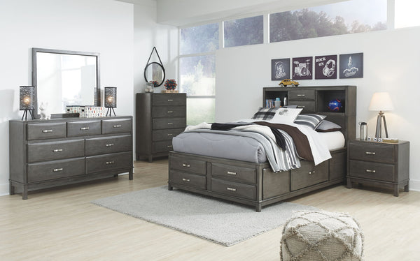 Caitbrook Gray Full Bed w/ Dresser Mirror & Night Stand