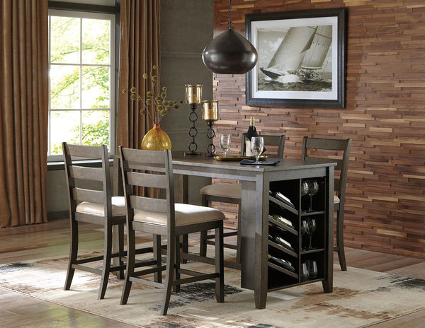 Rokane Rokane Light Brown 5 Pc. RECT Counter Table with Storage & 4 UPH Barstools