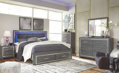 Lodanna Dresser, Mirror & King Panel Bed with Storage