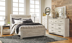 Bellaby Whitewash Queen Bed w/ Dresser Mirror & Nightstand