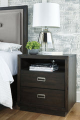 Hyndell - Dark Brown - Two Drawer Night Stand