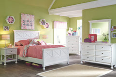 Kaslyn White Full Bed w/Dresser Mirror & Nightstand