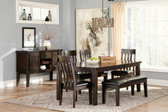 Haddigan Dark Brown Table 4 Side Chairs & Bench
