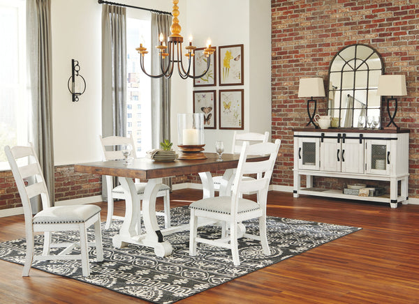 Valebeck Beige/White Dining UPH Side Chair