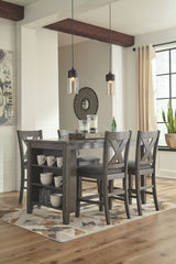 Caitbrook Dark Gray Table & 4 Barstools