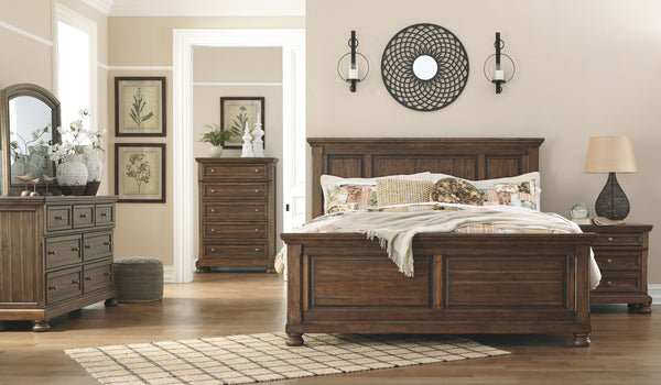 Flynnter Queen Panel Bed w/ Dresser Mirror and Nightstand