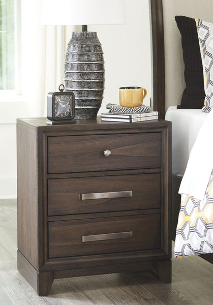Brueban - Gray - Three Drawer Night Stand