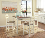 Woodanville Counter Table and 4 Barstools