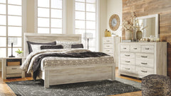 Bellaby Whitewash King Bed w/ Dresser Mirror & Nightstand