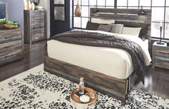 Drystan Multi Queen Bed with storage footboard w/ Dresser & Mirror