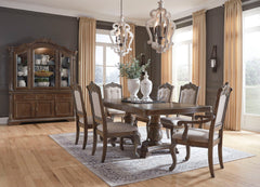 Charmond Brown Table, 4 UPH Side Chairs & 2 UPH Arm Chairs