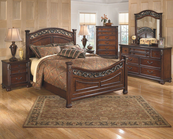 Leahlyn Queen Bed w/ Dresser & Mirror Nightstand Chest